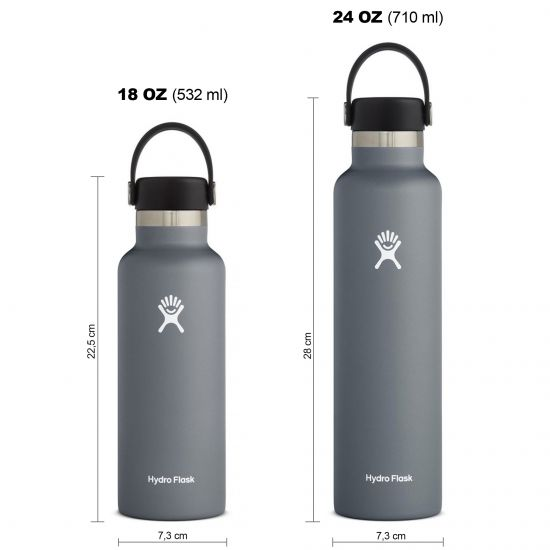 Hydro Flask Standard Mouth Isolierflasche 18 OZ (532ml) / 24 OZ (710ml) stone