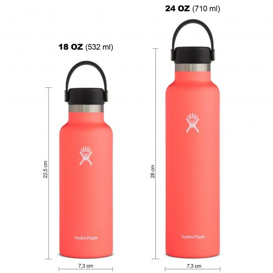 Hydro Flask Standard Mouth Isolierflasche 18 OZ (532ml) / 24 OZ (710ml) hibiscus