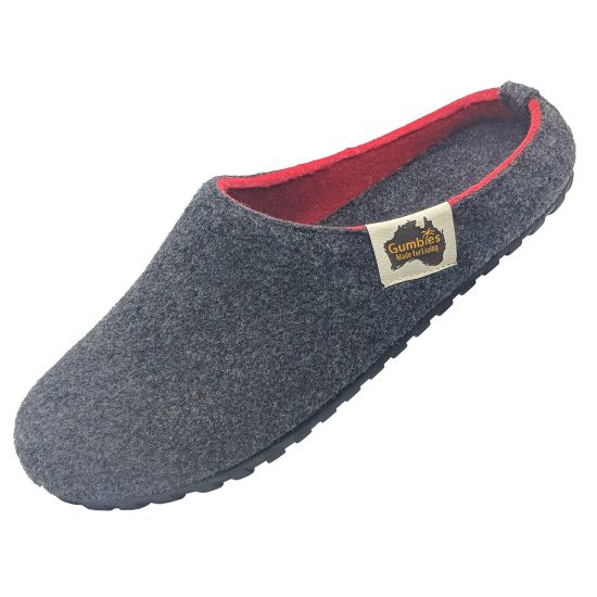 "GUMBIES Hausschuhe ""Outback Slipper"" Charcoal & Red"