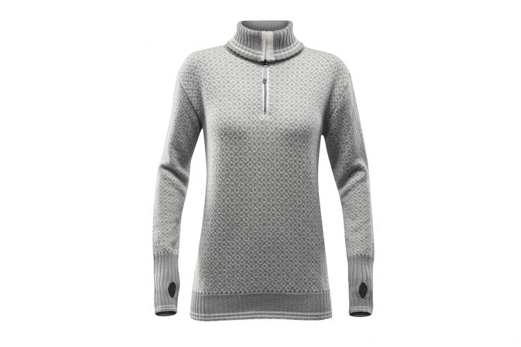 "Devold Slogen Woman, Modell ""ZIP Neck"" Grey Offwhite"
